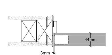 <b>Concealed hinge</b><br>› Double stud on hinge jamb is recommended<br>› A timber insert is required in the steel stud