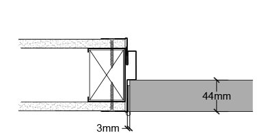 <b>Butt hinge</b><br>› A timber insert is required in the steel stud
