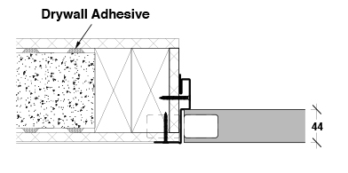 <b>Concealed hinge</b><br>› Double timber stud<br>› Single skin plasterboard
